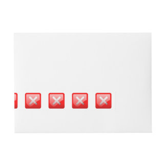 Botón rojo de X Etiquetas Postales
