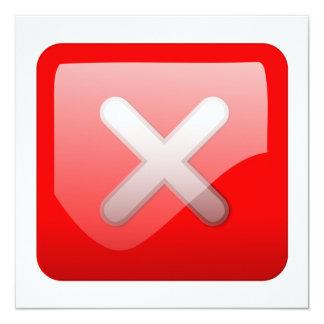 """Botón rojo de X Invitación 5.25"""" X 5.25"""""""
