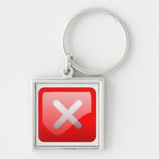 Botón rojo de X Llavero Cuadrado Plateado