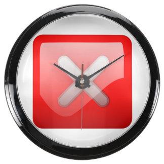 Botón rojo de X Reloj Acuario