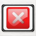 Botón rojo de X Tapete De Ratón
