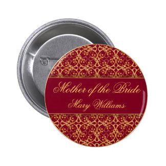 Botón rojo del banquete de boda del racimo de la b pin redondo de 2 pulgadas