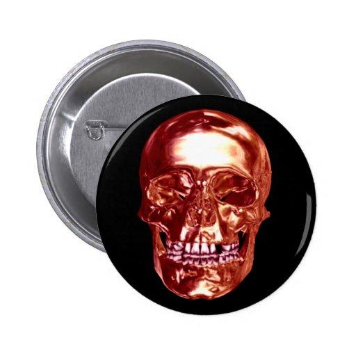 Botón rojo del cráneo del cromo pins