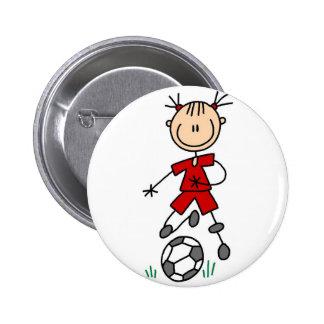 Botón rojo del jugador de fútbol del chica