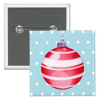 Botón rojo del ornamento del navidad pin cuadrado