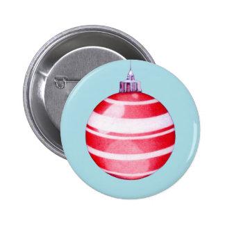 Botón rojo del ornamento del navidad pin redondo de 2 pulgadas