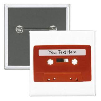 Botón rojo del personalizable de la cinta de caset pins