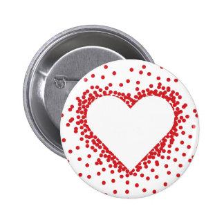 Botón rojo del personalizado del corazón del pin redondo de 2 pulgadas