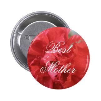 Botón rojo del Pin del clavel de la mejor madre