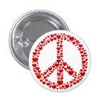 Botón rojo del signo de la paz de los corazones pins