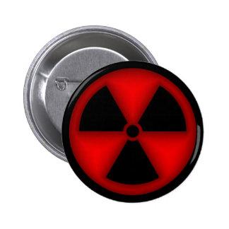 Botón rojo del símbolo de la radiación pin