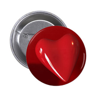 Botón rojo grande del corazón pin redondo de 2 pulgadas