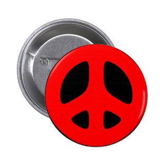 Botón rojo grande del signo de la paz pin