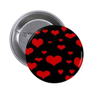 botón rojo negro de los corazones de w pin redondo de 2 pulgadas