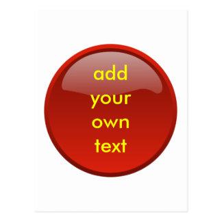 botón rojo oscuro tarjeta postal