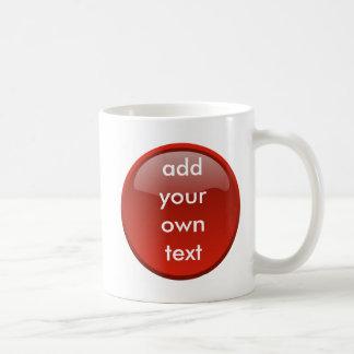 botón rojo oscuro taza