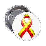 Botón rojo y amarillo de la cinta de la conciencia pin redondo de 2 pulgadas