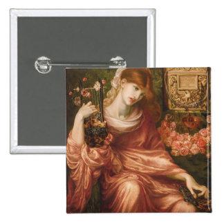 Botón romano del jugador de la arpa de Rossetti Pin Cuadrado
