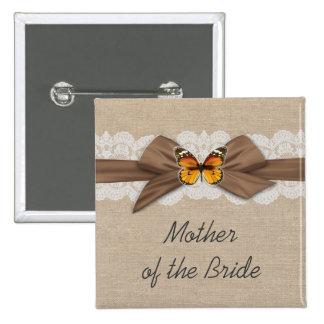 Botón romántico de la mariposa de la cinta de la pin cuadrado