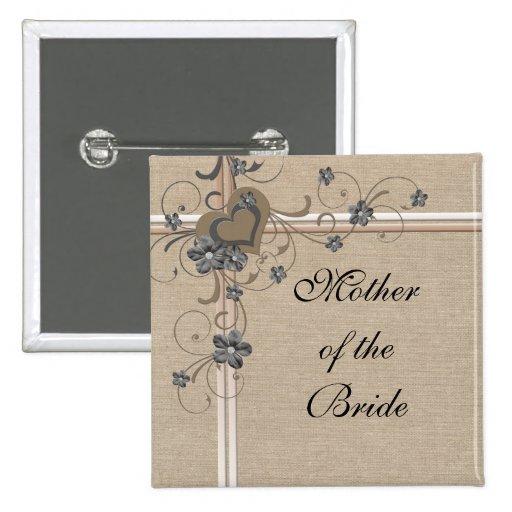 Botón romántico de lujo de la arpillera del corazó pins