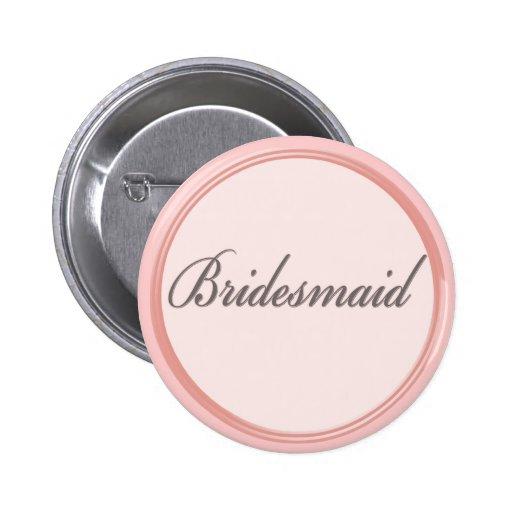 Botón rosa claro de la dama de honor del gris de pin redondo de 2 pulgadas