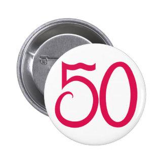 Botón rosado 50 pin redondo de 2 pulgadas