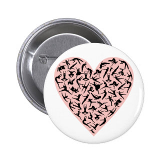 Botón rosado bonito del corazón de la danza pins