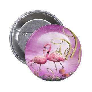 Botón rosado caprichoso de los flamencos pin