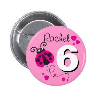 Botón rosado conocido del 6to cumpleaños de los pins