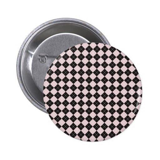 Botón rosado de Argyle Pin Redondo De 2 Pulgadas