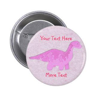 Botón rosado de Dino Pin Redondo De 2 Pulgadas