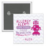 Botón rosado de la alarma de la alergia pin cuadrado