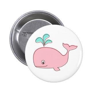 Botón rosado de la ballena pin redondo de 2 pulgadas
