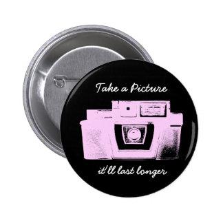 Botón rosado de la cámara de la película del vinta pin redondo de 2 pulgadas