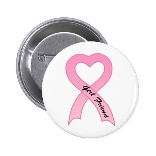 Botón rosado de la cinta de la amiga pins