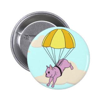 Botón rosado de la diversión del paraguas del dogo pin redondo de 2 pulgadas
