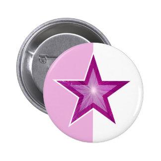 Botón rosado de la estrella pálido - blanco rosado pin redondo de 2 pulgadas
