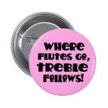 Botón rosado de la música del triple de la flauta pins