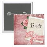 Botón rosado de la novia del vintage pin