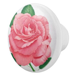 Botón rosado de la pasión pomo de cerámica