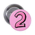 Botón rosado de los números 2 tontos pin