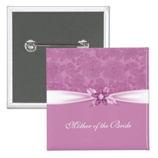 Botón rosado de lujo del damasco de la cinta de la