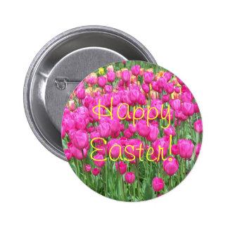 Botón rosado de Pascua de la foto de los tulipanes Pin Redondo De 2 Pulgadas