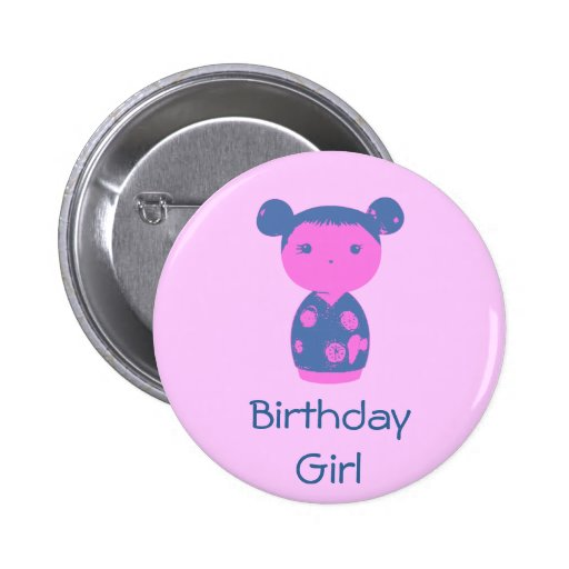 Botón rosado del azul de Kokeshi Pin