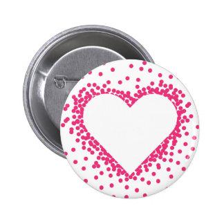 Botón rosado del corazón del confeti pin redondo de 2 pulgadas