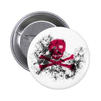 Botón rosado del cráneo del Grunge Pin Redondo De 2 Pulgadas