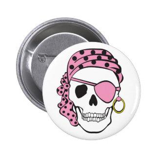 Botón rosado del cráneo del pirata pin