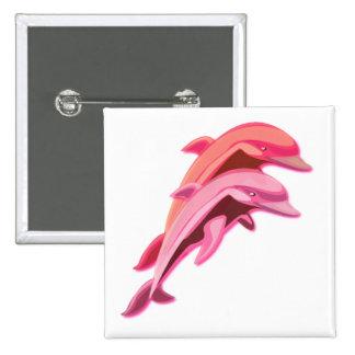 Botón rosado del cuadrado del diseño del delfín pin