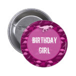 Botón rosado del cumpleaños del dinosaurio pins