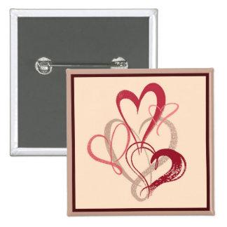 Botón rosado del el día de San Valentín del ramo d Pin Cuadrado